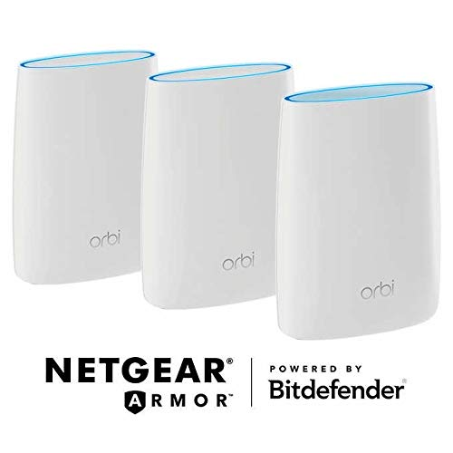 Netgear Orbi Whole Home Mesh WiFi System with Advanced Cyber Threat Protection, 3-Pack (RBK53S-100NAS)