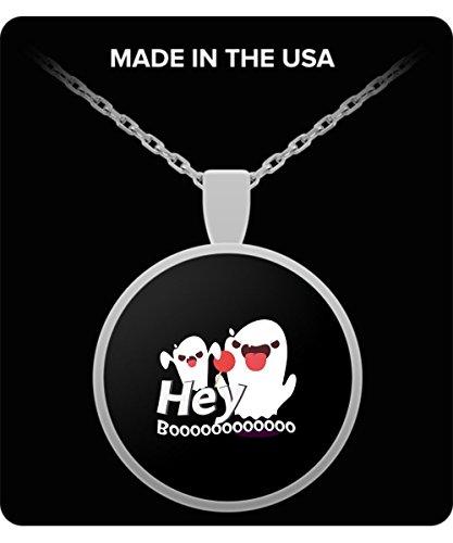Hey Boo Funny Halloween GIF Gift Necklace