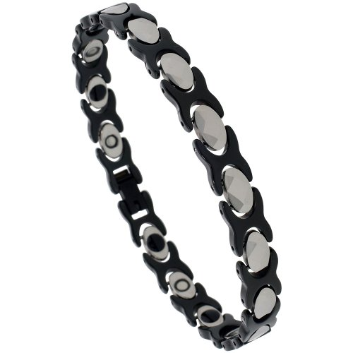 Tungsten & Ceramic XOXO Hugs & Kisses Bracelet Magnetic Therapy, 2-Tone Black & Gun Metal Diamond-shaped Facets, 5/16 inch wide, 7.5 inch long