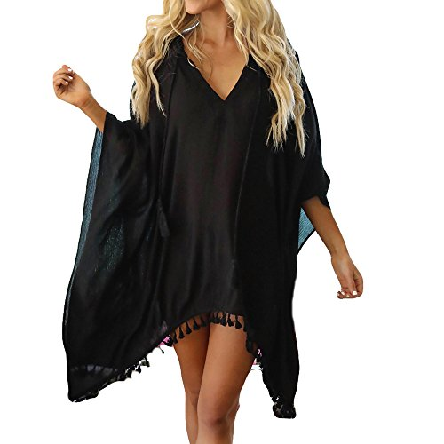Women Tassel Tops V-Neck Chiffon Bikini Smock Fashion Swimwear Suit Tootu Black