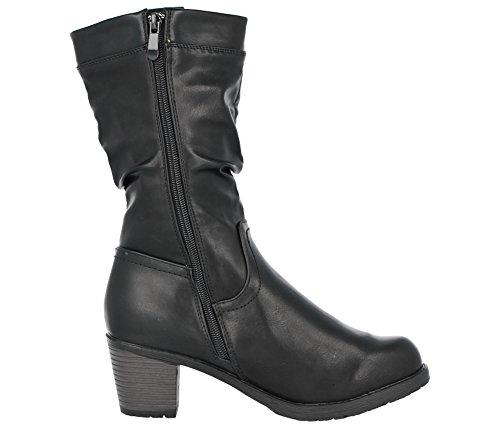 Antonia Dolfi Ladies 225148 Black Faux Leather Mid Block Heel Western Mid Calf Length Boots Size 3-9 Black TfOn4oLXn8