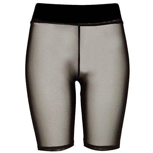New Womens Fishnet Mesh See Through Slim Fit 3/4 Leggings Cycling Short Hot Pant