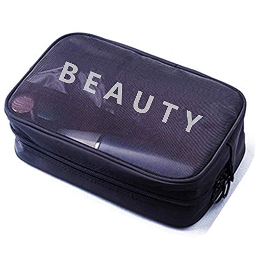 Obvie High Grade Mesh Travel Makeup Bag Organizer Translucent Clear Travel Toiletry Bag Quick Pass Airport Security (Black Large)