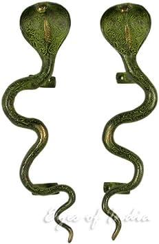Par de manijas de lat/ón para Puerta de Coche de cofra de 30 cm de Bronce Antiguo Indio Deco Ojos de Inda