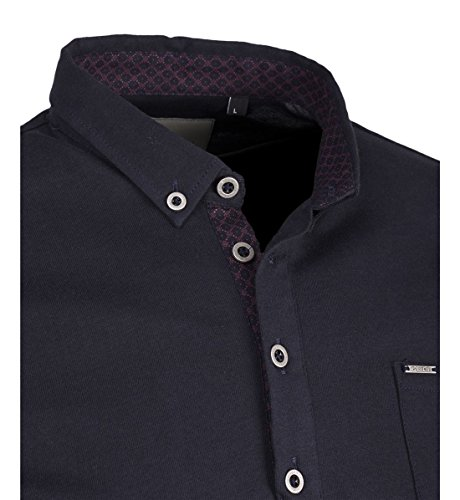Guide London Herren Poloshirt, Einfarbig Blau Navy