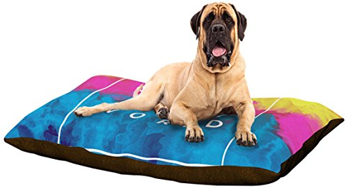 """Kess InHouse Galaxy Eyes """"Color Your World"""" Rainbow Paint Dog Bed, 50 by 60-Inch For Sale"""