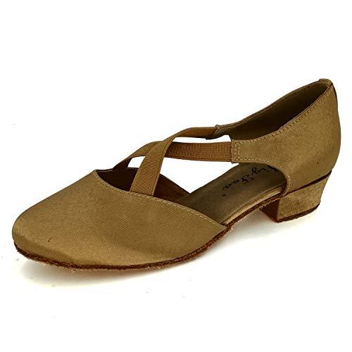 Jig Foo Women's Pumps Dance Shoes,tan Satin,8 B(M) US