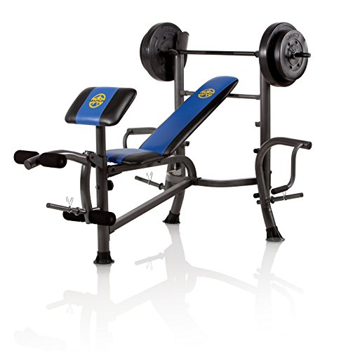Marcy opp bench and 80 pound weight set Bench and weight set