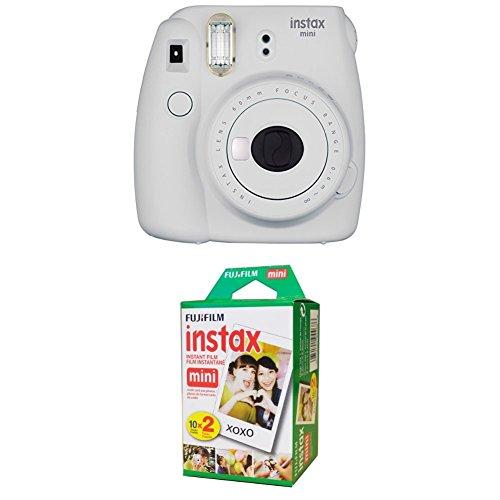 Fujifilm Instax Mini 9 Instant Camera – Smokey White with Twin Pack