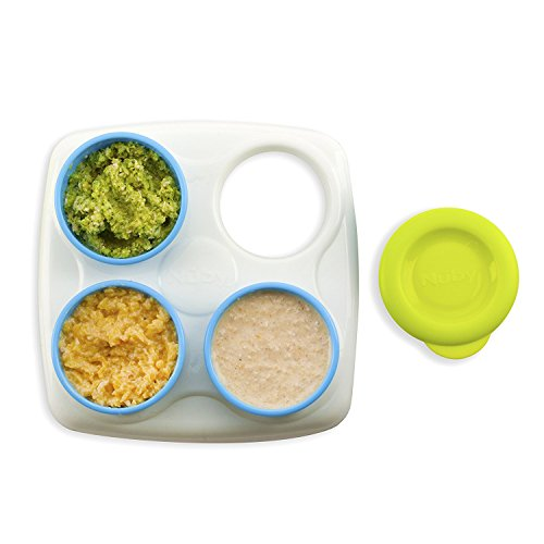 Nuby Garden Fresh Food Storage Freezer Pots with Tray, Colors May Vary