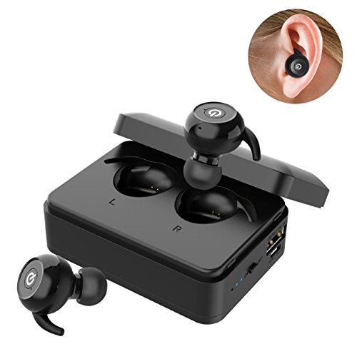 Le Freshinsoft Wireless Bluetooth Earbuds True Twins HD Stereo V4.2 Built-in Mic Earphone Mini Noise Cancellation Headphones with 2000mAh Charging Box for IPhone, Ipad, Android phones, Smartphones by LeFreshinsoft