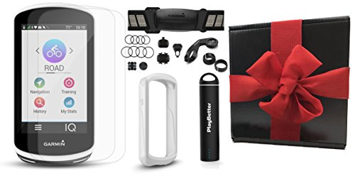 Garmin Edge 1030 Gift Box Bundle | with PlayBetter Silicone Case, Screen Protectors & Portable Charger | Mounts | GPS Bike Computer | Gift Box (+HRM +Speed/Cadence Senors, White Case) (Hrm Training Computer)