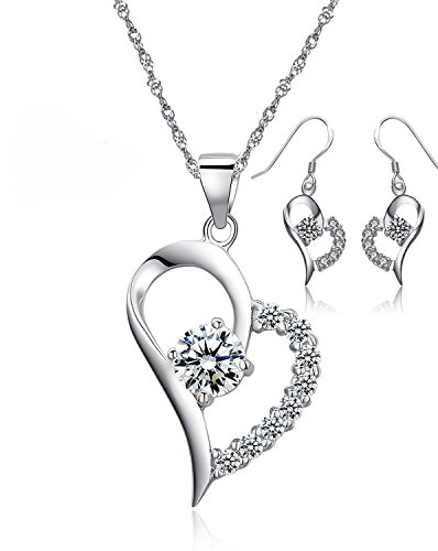 Forfamilyltd You Are the Only One in My Heart Sterling Silver Pendant Necklace With Earrings Set, White