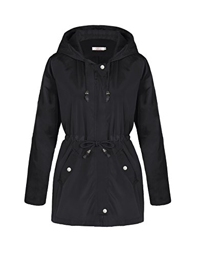 A Blues Man Womens Lightweight Lining Hooded Waterproof Outdoor Zipper Rain Jacket Black Button M