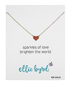 "ellie byrd 10k Yellow Gold Red Swarovski Crystal Heart Necklace, 17"""