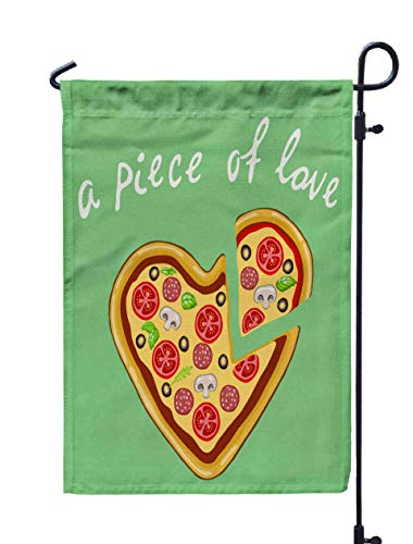 Shorping Season Garden Flag, 12x18Inch for Holiday and Seasonal Double-Sided Printing Yards Flags A Piece of Love Vector Image of a Pizza in a Heart Shape on a Mint (Halloween Gourmet Dinner Party Menu)