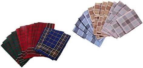 ハンカチ メンズ ビジネス メンズポケットハンカチ スクエアハンカチ 格子縞 混色 吸水 速乾性 コットン
