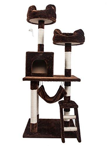 (OSJ)キャットタワー 猫 スタンダード式キャットタワー ハンモック&爪とぎ&ベッド&ネズミ付き (ブラウン)