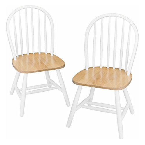 Traditional Style Windsor Chair, Set of Two, Solid Beech Wood, No Assembly Necessary, Ideal Choice to Create a Comfortable Dining Space, Excellent Materials + Expert Guide (White)