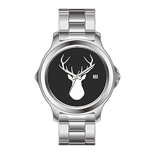 FDC Christmas Gift Watches Women's Fashion Japanese Quartz Date Stainless Steel Bracelet Watch Black & White Deer -