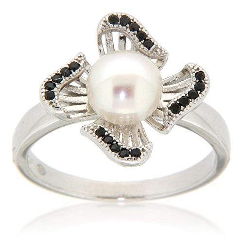 Ocean White Pearl Ring - Pearlz Ocean White Freshwater Pearl and Black Spinel Pinwheel Fashion Ring Jewelry for Women