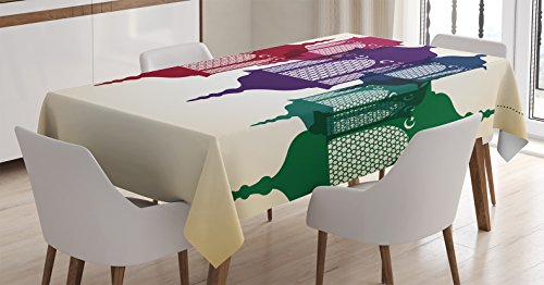 Lantern Tablecloth by Ambesonne, Antique Style Colorful Arabian Lantern Hang on Sky Traditional Design, Dining Room Kitchen Rectangular Table Cover, 60 W X 90 Inches, Purple Red Yellow Green
