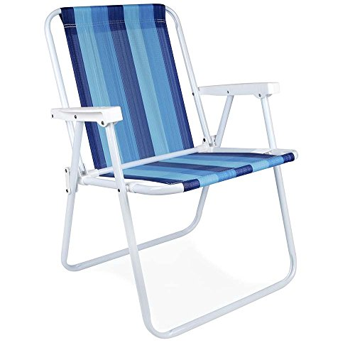 MOR Steel Beach Chair - 1 Position - (Pack of 1) (Blue Variation Stripe) by MOR EUA LLC