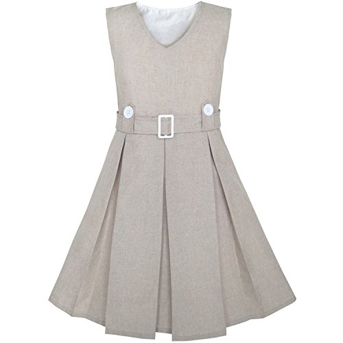 KV72 Girls Dress Beige Button Back School Pleated Hem Size 7 by Sunny Fashion