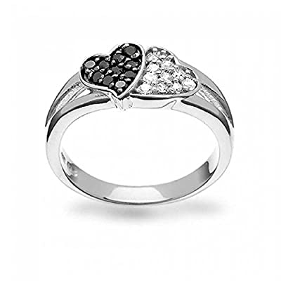 Bling Jewelry 925 Silver Pave Coffee CZ Two Hearts Ring Rhodium Plated on sale