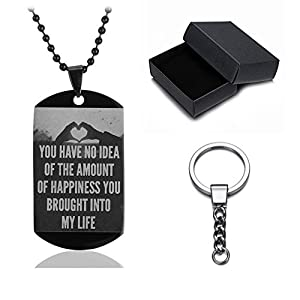Sunling Stainless Steel Inspirational Keychain for Boyfriend Girfriend Dog Tag Military Necklace Jewelry Love Gifts for Her Him,with Gift Box