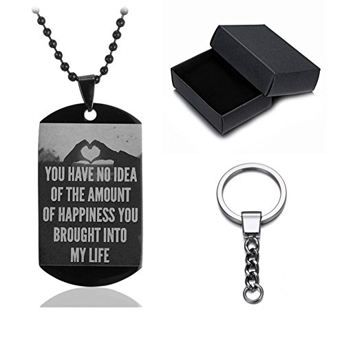 SL Beloved Stainless Steel Personalized Dog Tag Military Necklace Keychain Custom Message Stamped Pendant Best Valentine's Day Gift for Men,Women,Girlfriend,Boyfriend,Couple,Wife,Husband,Sweetheart