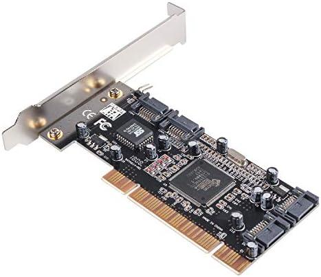 Semlos PCI Sata Internal Ports Raid Controller Card (4-Ports) Sil3114 Chipset Sata Cables