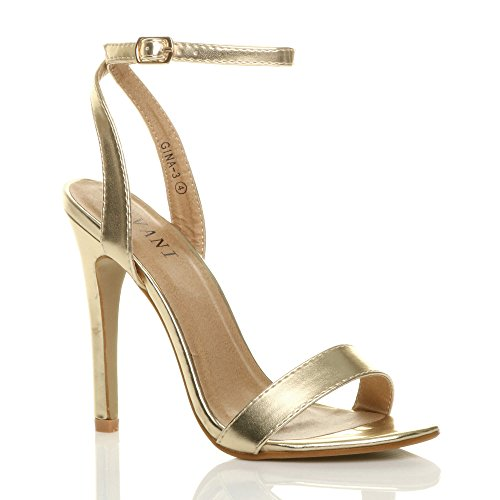 There Sandals Metallic Gold Shoes Ajvani High Heel Size Barely Women 76xIpqO