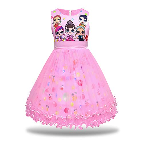 MagJazzy Girls Tutu Princess Dress Doll Digital Print Sleeveless Pageant Gown Dress for LOL Doll Surprised (130cm/ 5-6Y, Pink)