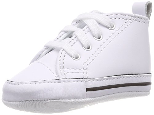 Converse CT Baby First Star Leather High Top Sneaker, White, 2 M US Infant