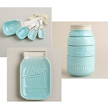 Mason Jar Ceramic Kitchenware 3 Piece Set: Spoon Rest, Measuring Cups & Spoons
