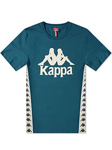 Kappa Mens Banda 222 Bzaiki 304KBQ0 T-Shirt in Blue/Dark Petrol/Beige XS