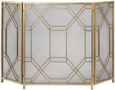 暖炉スクリーン 錬鉄の暖炉スクリーン、大規模な3パネルフラットガードメタル装飾メッシュ、ベビーセーフ耐火パネルウッドバーニングストーブアクセサリー、ゴールド、33×52in