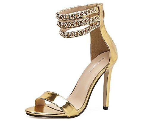 6 Vestir del Zapatos Correa 39 Mujer Tacón Sandalias 5 nocturno Fiesta Tobillo Estilete L Oro UK Alto pie Dedo EUR furtivamente Mirar 6 XIE Club Plata TgqYwC