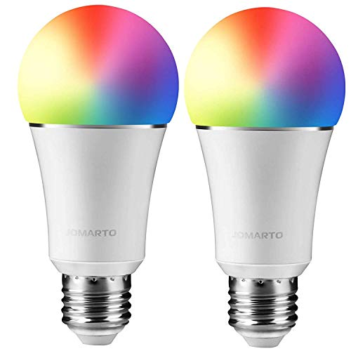 JOMARTO Smart WiFi LED Light Bulb, 2 Pack Compatible with Alexa/Google Home, 60W Equivalent Color Changing Multicolor Dimmable Light Bulb 900LM Remote Control No Hub Required (9W E26)