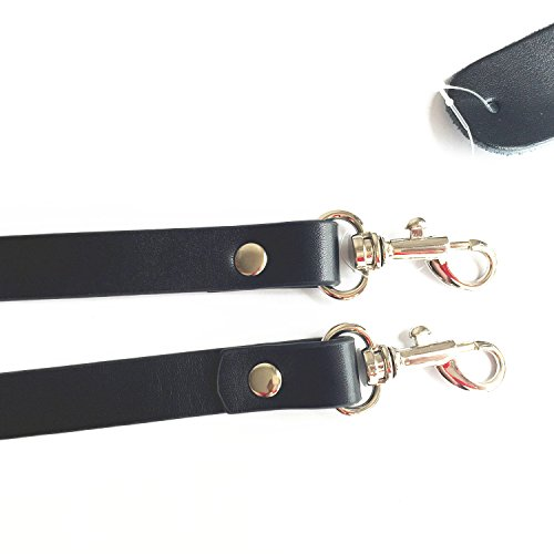 "Lam Gallery 23"" Split Leather Black Purse Straps Replacement Handbag Straps 5/8"" Wide Wallets Tote Satchel Clutch Bags Shoulder Straps Replacement - Silver"