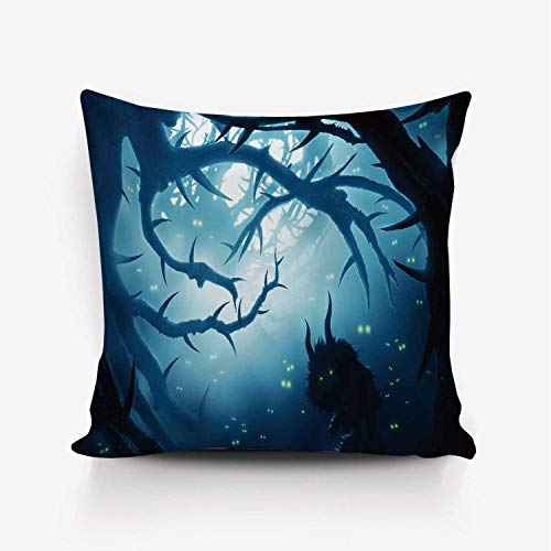 YOLIYANA Mystic House Decor Soft Throw Pillow Cover,Animal with Burning Eyes in Dark Forest at Night Horror Halloween Illustration for Home Office,20