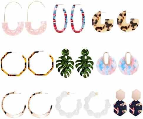 be0c88f7b CZCCZC Acrylic Earrings Hoop Earrings Acrylic Resin Drop Dangle Earring  Bohemian Statement Stud Earrings