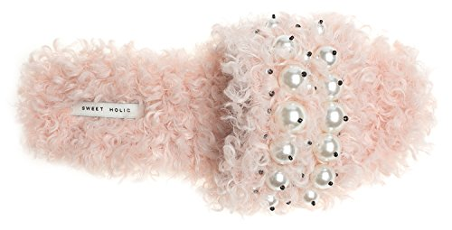 AnnaKastle Womens Faux Pearl-Embellished Faux Shearling Slide Sandals Pink BtUfqd