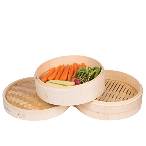 BestBambooSteamer Basket 10 Inch Pot Organic Large Healthy Food Chinese Rice Pan Vegetable Kitchen Tall Asian Ring Cooking Veggie Wok Deep Circle Instant Deluxe Handmade Cookware & eBook