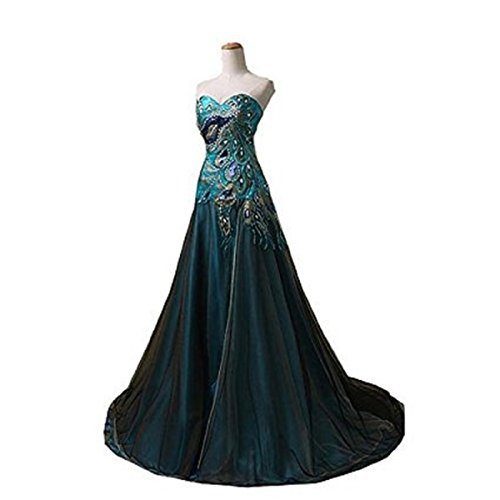 New Peacock Dress Formal Long Evening Party Dress Ball Gown Prom (size12)