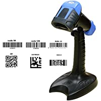 KKMOtech Automatic Sensor Wired USB 2D/QR/DataMatrix/PDF417 Handheld Bar code Barcode Scanner Reader CCD on PC or Phone Screen Payment + Stand Holder