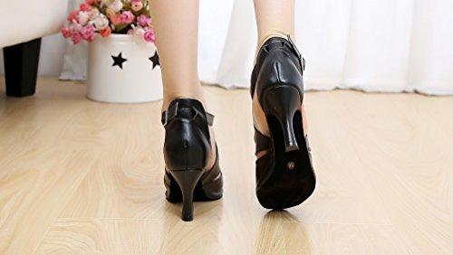 CFP jj-6174Damen Latin Tango Ballsaal Party Hochzeit Peep-Toe-Kätzchen Leder dance-shoes, schwarz - schwarz - Größe: 34
