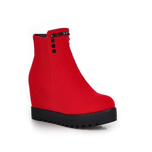 AllhqFashion Damen Hoher Absatz Mattglasbirne Niedrig-Spitze Rein Reißverschluss Stiefel, Rot, 44