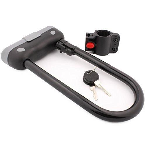 Heavy Duty Bike U Lock Bicycle Cycling Security Steel Lock & Bracket Security Black With 2 Keys Size 9.5